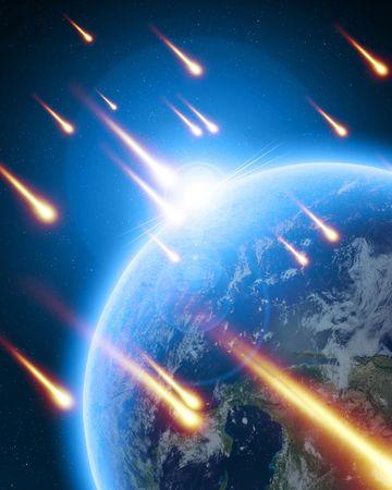 meteor shower on a dark blue background photo
