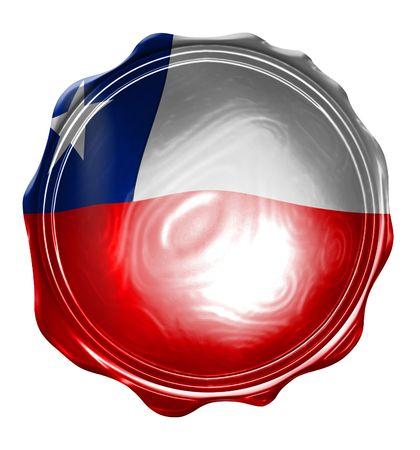 chilean flag: sellos de cera con la bandera chilena sobre el mismo