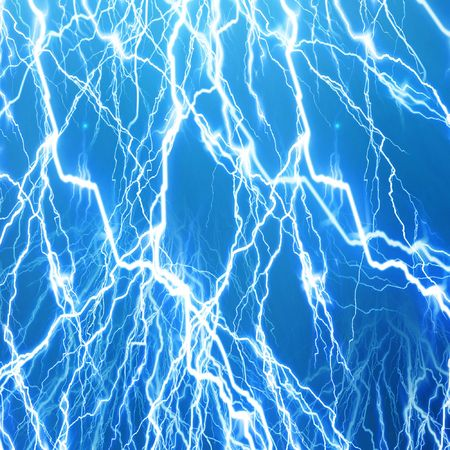 lightning flash on a bright blue background Фото со стока
