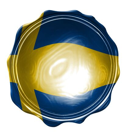 sweden flag: wax seal with the swedish flag on it Stock Photo