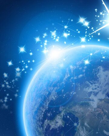 Blue planet earth in outer space with bright sparkles