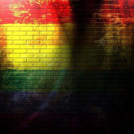 gay pride flag painted on a grunge brick wall Stok Fotoğraf