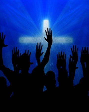 celebrating jesus on a dark blue background photo