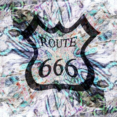 grunge wall with graffiti and route 666 sign on it photo