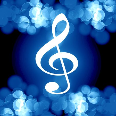 blue music note on a dark background photo