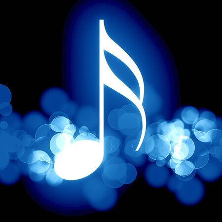 glowing music note on a dark background photo