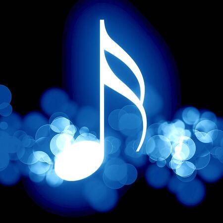 musical note: Nota de m�sica brillante sobre un fondo oscuro