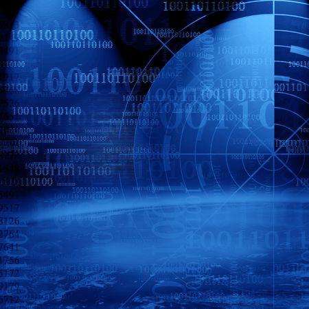 Dangerous world on a dark blue background photo
