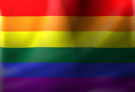 Gay pride flag waving in the wind with some folds photo