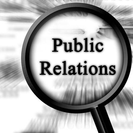relations publiques: relations publiques sur un fond blanc avec une loupe. Banque d'images