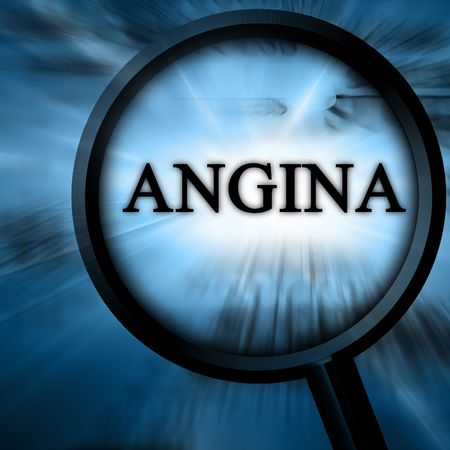 angina: Angina de pecho en un fondo azul con un ampliador