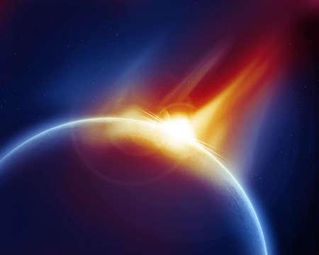 meteor: Meteor Strike auf Planeten im Weltraum Lizenzfreie Bilder