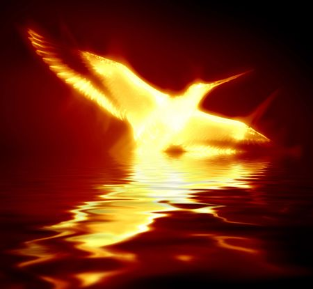 phoenix rising from the flames on a dark background
