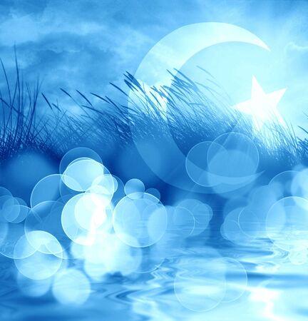 marram grass on a bright blue background photo