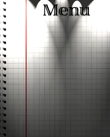 notebook with white paper and menu written on it Stock Photo - 5957474