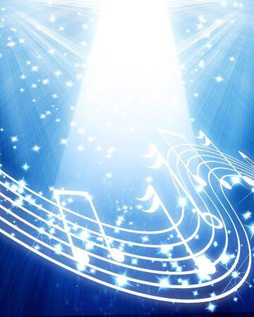 musical notes on a soft blue background photo