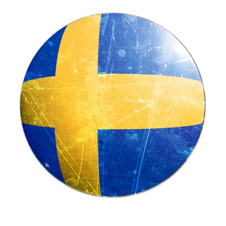 swedish flag on a solid white background photo