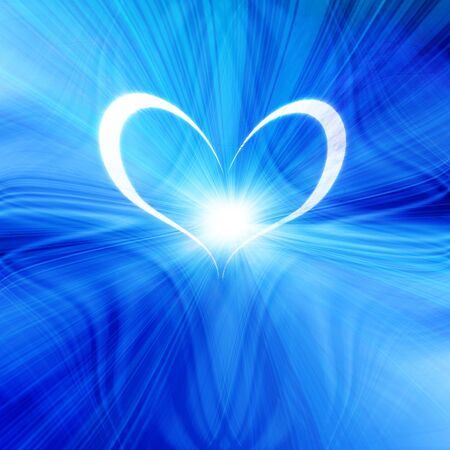 glowing heart on a soft blue background