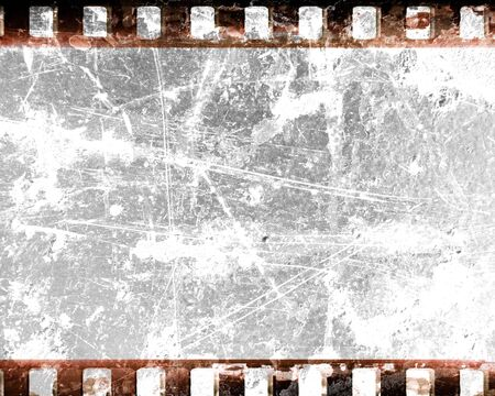 film shooting: old film strip with some damage on it