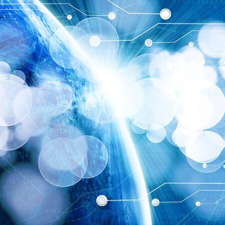 digital world on a dark blue background
