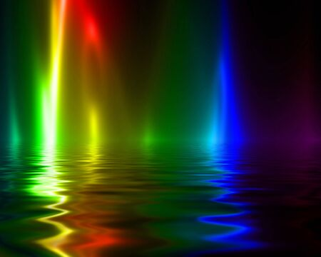rippling: rainbow flames on a dark black background