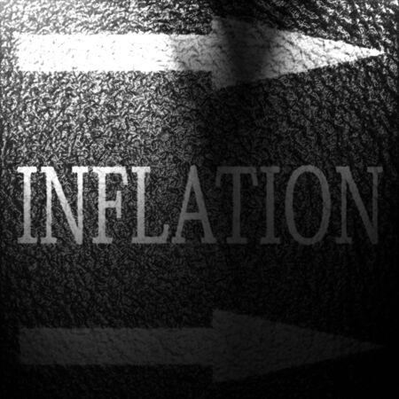 inflation written on an asphalt background texture photo