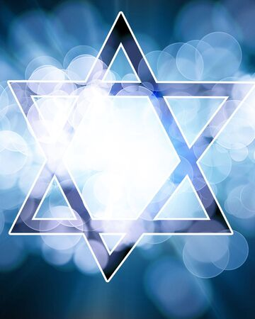 hannukah: star of david on a blue background Stock Photo