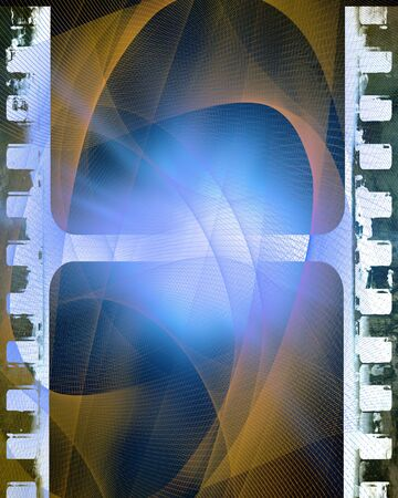 emulsion: old film strip on a gold and blue background