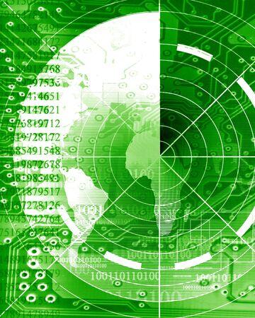 sonar: schermo radar su uno sfondo verde e morbido Archivio Fotografico