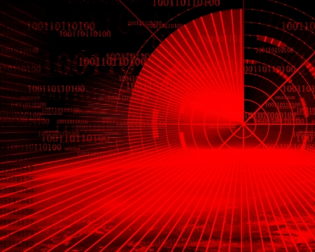 radar screen on a bright red background Stock Photo - 10342403