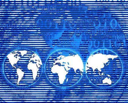 bytes: Digital world on a dark blue background