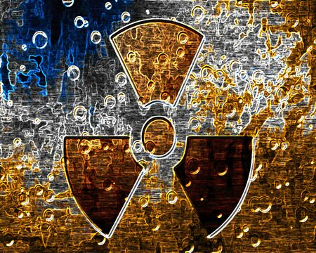Grunge metal panel with a nuclear sign on it Stock Photo - 10341791