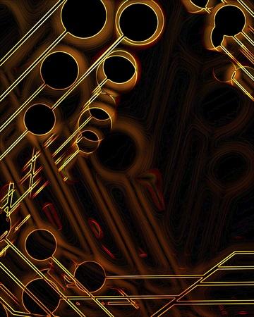 Computer circuit on a dark brown background photo