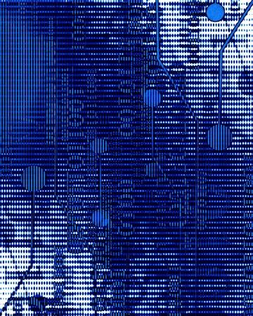 bytes: Computer circuit on a dark blue background Stock Photo