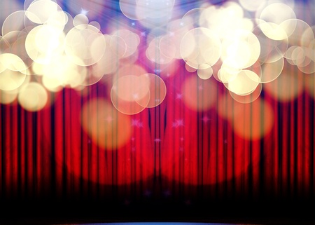 hollywood stars: Movie or theater curtain with double spotlight