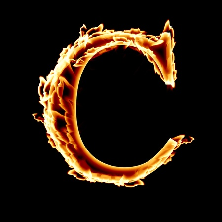 fire font: letter C on a dark background Stock fotó