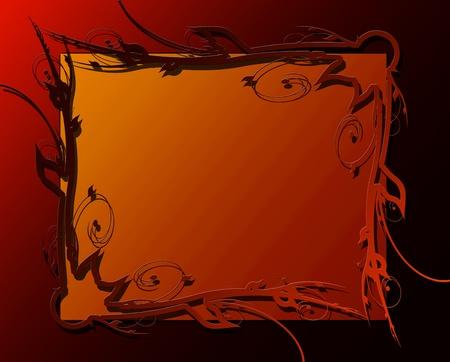 floral frame on a dark orange background photo