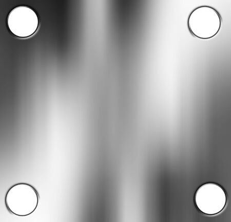 drilled: Brushed metal plate with soft reflection on it Stock Photo