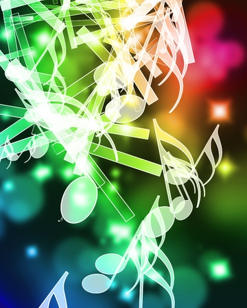 colorful music notes on a beautiful rainbow background
