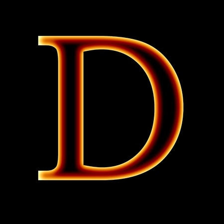 fire font: letter D on a dark background Stock Photo