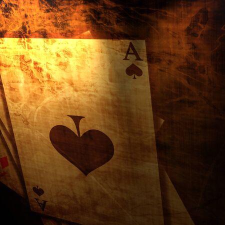 cartas de poker: Vintage naipes sobre un fondo de papel