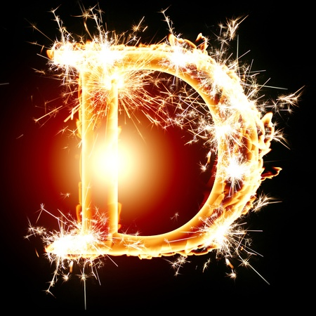 burning alphabet: sparkling font: letter D on a dark background