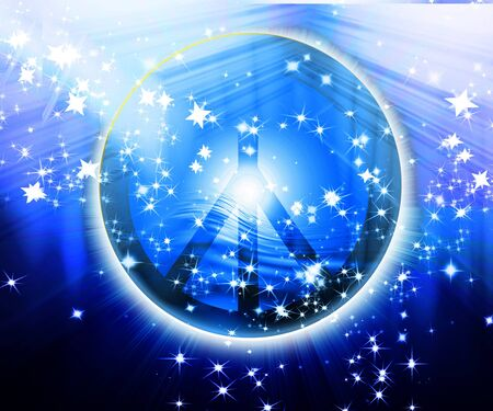 peace movement: peace symbol on a blue background with glitter Stock Photo