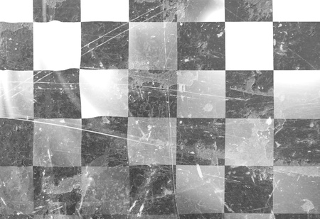 checkers: black and white chequered flag with soft folds Stock Photo