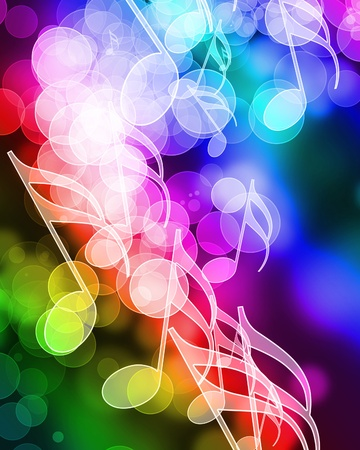 disco backdrop: music notes on a colorful rainbow background