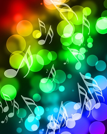 music notes on a colorful rainbow background