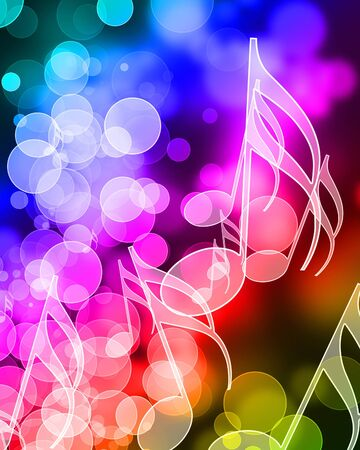 music notes on a colorful rainbow background photo