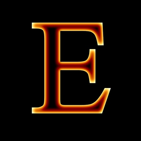 fire font: letter E on a dark background photo