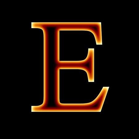 burning letter: fire font: letter E on a dark background Stock Photo