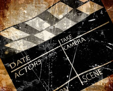 film shooting: Old grunge clapboard on a brown background